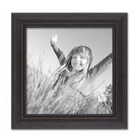 2er Set Bilderrahmen 20x20 cm Shabby-Chic Landhaus-Stil Dunkelbraun Massivholz mit Glasscheibe und Zubehör / Fotorahmen  – Bild 4