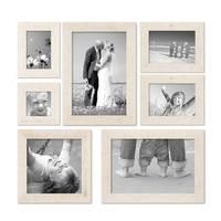 7er Bilderrahmen-Set 10x10 10x15 13x18 20x20 und 20x30 cm Strandhaus Rustikal Weiss Massivholz mit Glasscheibe inkl. Zubehör / Fotorahmen