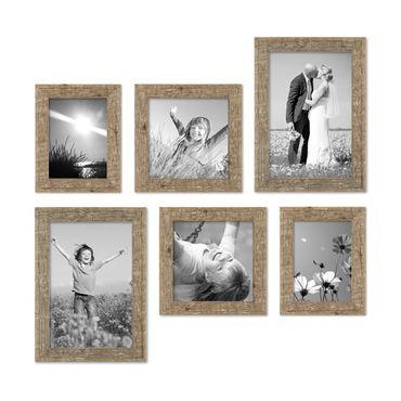 6er Bilderrahmen-Set 15x20 20x20 und 20x30 cm Strandhaus Rustikal Eiche-Optik Natur Massivholz mit Glasscheibe inkl. Zubehör / Fotorahmen