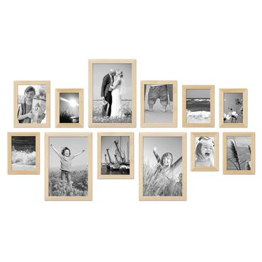 12er Set Bilderrahmen Modern Kiefer Natur Massivholz 10x15 bis 20x30 cm inklusive Zubehör / Fotorahmen
