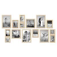 15er Set Bilderrahmen Modern Kiefer Natur Massivholz 10x15 bis 20x30 cm inklusive Zubehör zur Gestaltung einer Collage / Bildergalerie
