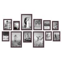 12er Set Bilderrahmen Modern Nuss Massivholz 10x15 bis 20x30 cm inklusive Zubehör / Fotorahmen