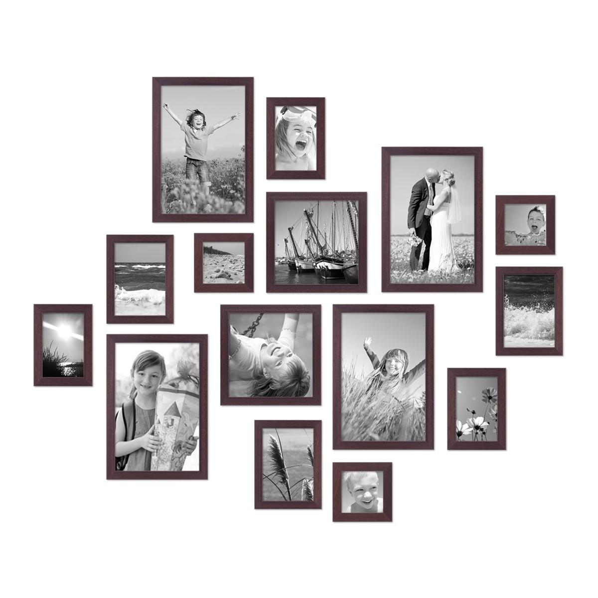 15er set bilderrahmen modern nuss massivholz 10x15 bis. Black Bedroom Furniture Sets. Home Design Ideas