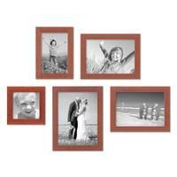 5er Set Bilderrahmen 10x10, 10x15, 13x18 und 15x20 cm Kirsche Modern Massivholz-Rahmen mit Glasscheibe inkl. Zubehör / Fotorahmen