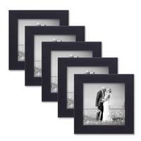 5er Set Bilderrahmen 10x10 cm Schwarz Modern aus MDF mit Glasscheibe und Zubehör / Fotorahmen