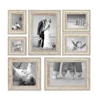 7er-Set Bilderrahmen Weiss Shabby-Chic Vintage 10x10 10x15 13x18 20x20 und 20x30 cm inkl. Zubehör Fotorahmen / Nostalgierahmen  – Bild 1