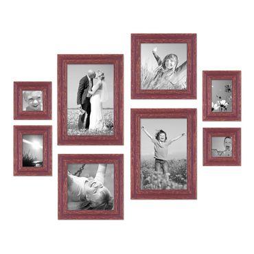 8er-Set Bilderrahmen Rot-Braun Shabby-Chic Vintage, je 2 mal 10x10, 10x15, 20x20 und 20x30 cm, inkl. Zubehör, Fotorahmen / Nostalgierahmen