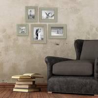 5er Set Vintage Bilderrahmen Grau-Grün Shabby-Chic 10x10, 10x15, 13x18 und 15x20 cm inkl. Zubehör Fotorahmen / Nostalgierahmen  – Bild 2