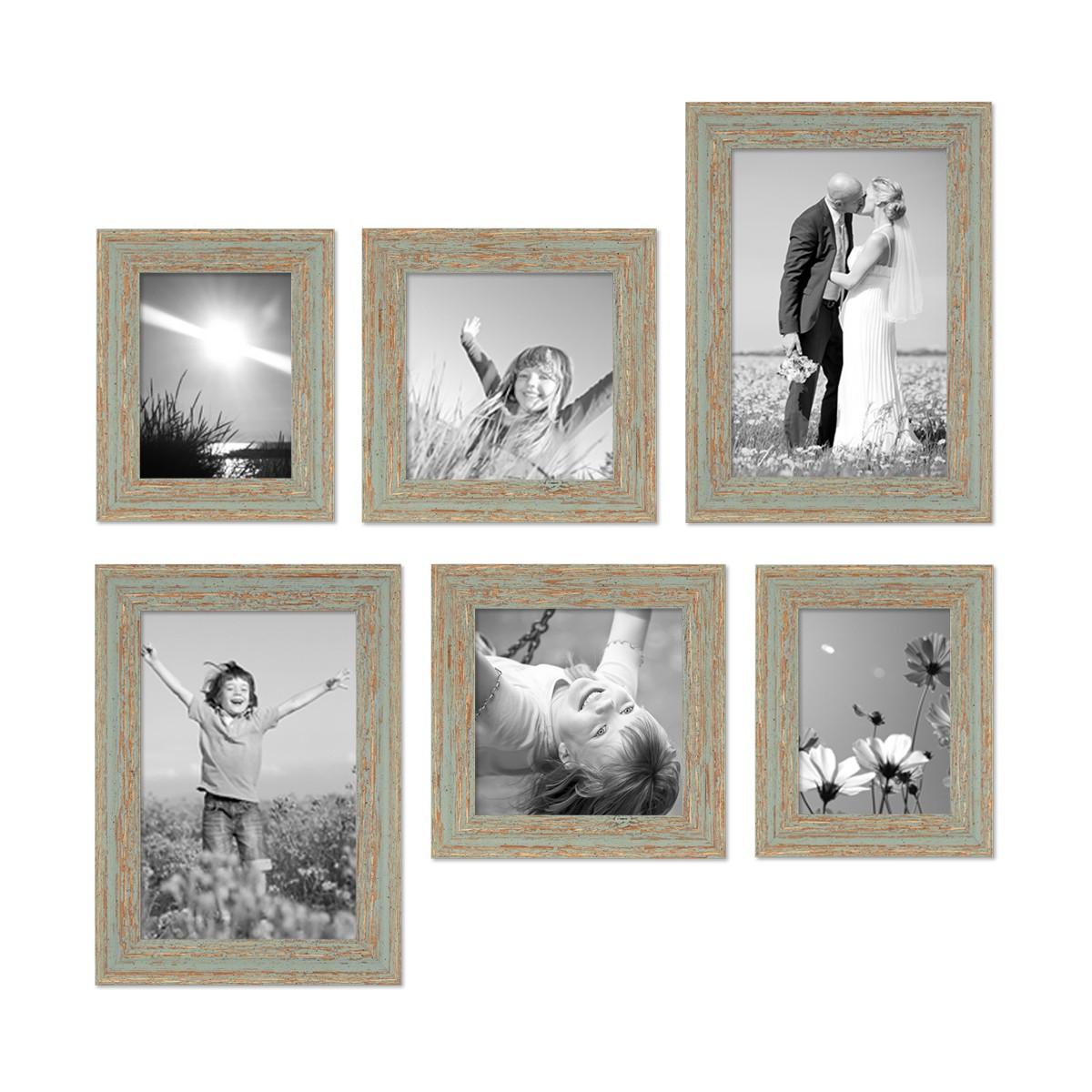 6er set bilderrahmen grau gr n shabby chic vintage 15x20. Black Bedroom Furniture Sets. Home Design Ideas