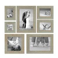 7er-Set Bilderrahmen Grau-Grün Shabby-Chic Vintage 10x10 10x15 13x18 20x20 und 20x30 cm inkl. Zubehör Fotorahmen / Nostalgierahmen  – Bild 1