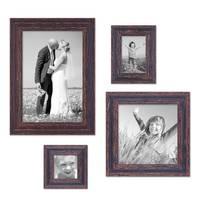 4er Set Vintage Bilderrahmen Dunkelbraun Shabby-Chic je einmal 10x10, 10x15, 20x20 und 20x30 cm inkl. Zubehör Fotorahmen / Nostalgierahmen