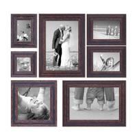 7er-Set Bilderrahmen Dunkelbraun Shabby-Chic Vintage 10x10 10x15 13x18 20x20 und 20x30 cm inkl. Zubehör Fotorahmen / Nostalgierahmen