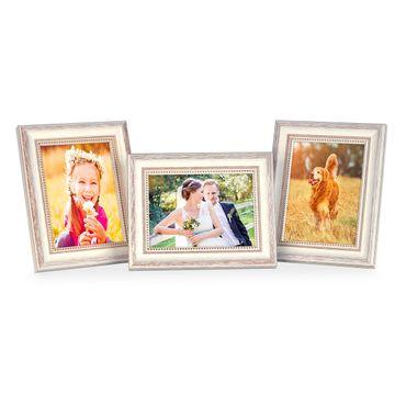 3er Set Bilderrahmen Shabby-Chic Landhaus-Stil Weiss 13x18 cm Massivholz mit Glasscheibe und Zubehör / Fotorahmen