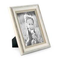 3er Set Bilderrahmen Shabby-Chic Landhaus-Stil Weiss 13x18 cm Massivholz mit Glasscheibe und Zubehör / Fotorahmen – Bild 4