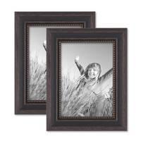 2er Set Bilderrahmen 13x18 cm Shabby-Chic Landhaus-Stil Dunkelbraun Massivholz mit Glasscheibe und Zubehör / Fotorahmen