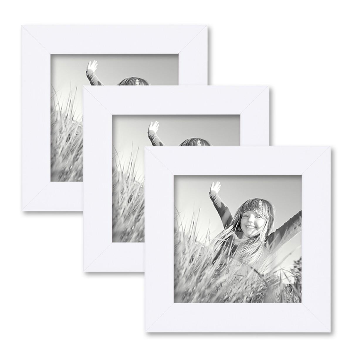 3er set bilderrahmen 10x10 cm weiss modern aus mdf mit glasscheibe und zubeh r fotorahmen. Black Bedroom Furniture Sets. Home Design Ideas