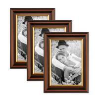 3er Bilderrahmen-Set 15x20 cm Antik Dunkelbraun mit Goldkante