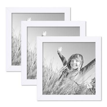 3er Set Bilderrahmen 20x20 cm Weiss Modern aus MDF mit Glasscheibe und Zubehör / Fotorahmen