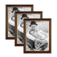 3er Set Bilderrahmen 30x45 cm Antik Dunkelbraun mit Goldkante Massivholz mit Glasscheibe inkl. Zubehör – Bild 1