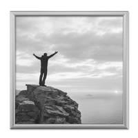 2er Set Alu-Bilderrahmen 20x20 cm Aluminium-Rahmen Silber Matt mit Glasscheibe inkl. Zubehör – Bild 2