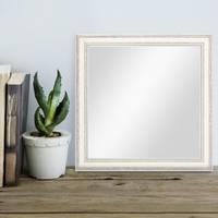 Wand-Spiegel 36x36 cm im Massivholz-Rahmen Landhaus-Stil Shabby-Chic Weiss Quadratisch / Spiegelfläche 30x30 cm – Bild 2