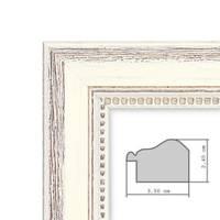 Wand-Spiegel 46x56 cm im Massivholz-Rahmen Landhaus-Stil Shabby-Chic Weiss / Spiegelfläche 40x50 cm – Bild 5