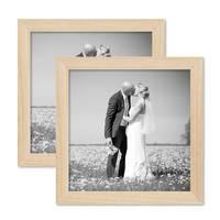 2er Set Bilderrahmen 20x20 cm Kiefer Natur Modern Massivholz-Rahmen mit Glasscheibe und Zubehör / Fotorahmen  – Bild 1