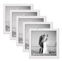5er Set Landhaus-Bilderrahmen 20x20 cm Weiss Massivholz mit Glasscheibe und Zubehör / Fotorahmen  – Bild 1