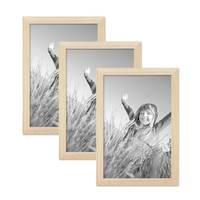 3er Set Bilderrahmen 20x30 cm Kiefer Natur Modern Massivholz-Rahmen mit Glasscheibe und Zubehör / Fotorahmen  – Bild 1