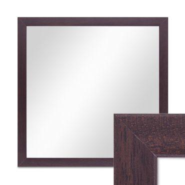 Wand-Spiegel 33x33 cm im Holzrahmen Nuss-Optik Dunkelbraun Modern Quadratisch / Spiegelfläche 30x30 cm