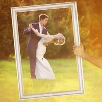 Hochzeit-Bilderrahmen für beeindruckende Hochzeitsfotos Hochzeitsspiele oder als Hochzeits-Rahmen und Photo-Booth Zubehör 40x60 cm Farbe Weiß