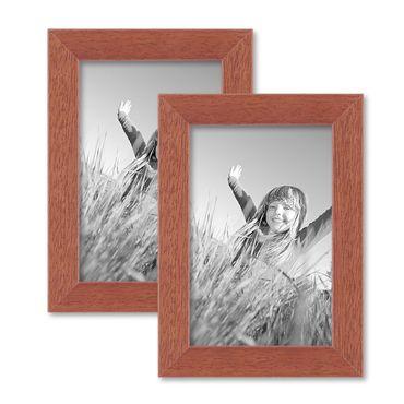 2er Set Bilderrahmen 10x15 cm Kirsche Modern Massivholz-Rahmen mit Glasscheibe und Zubehör / Fotorahmen