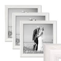 3er Set Bilderrahmen Landhaus-Stil Weiss 30x30 cm Massivholz mit Glasscheibe und Zubehör / Fotorahmen  – Bild 1