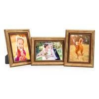 3er Set Bilderrahmen 10x15 cm Gold Barock Antik Massivholz mit Glasscheibe und Zubehör / Fotorahmen / Barock-Rahmen  – Bild 1