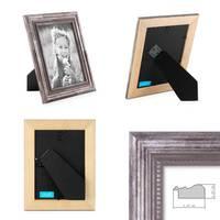 Bilderrahmen 13x18 cm Silber Barock Antik Massivholz mit Glasscheibe inkl. Zubehör / Fotorahmen / Barock-Rahmen  – Bild 2