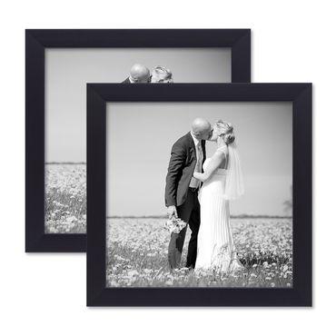 2er Set Bilderrahmen 20x20 cm Schwarz Modern aus MDF mit Glasscheibe und Zubehör / Fotorahmen