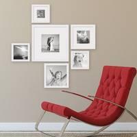 6er Set Bilderrahmen Weiss Modern Quadratisch aus MDF mit Glasscheibe und Zubehör / Fotorahmen  – Bild 2