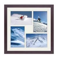 Fotocollage-Bilderrahmen 30x30 cm Modern Nuss Collagerahmen Bildergalerie-Rahmen für 4 Bilder Wechselrahmen mit Passepartout – Bild 1