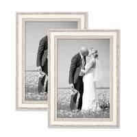 2er Bilderrahmen-Set Shabby-Chic Landhaus-Stil Weiss 21x30 cm / DIN A4