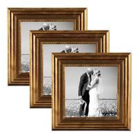 3er Set Bilderrahmen 10x10 cm Gold Barock Antik Massivholz mit Glasscheibe und Zubehör / Fotorahmen / Barock-Rahmen  – Bild 1