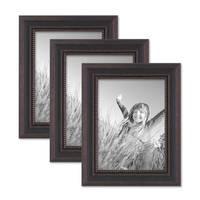 3er Set Bilderrahmen 15x20 cm Shabby-Chic Landhaus-Stil Dunkelbraun Massivholz mit Glasscheibe und Zubehör / Fotorahmen  – Bild 1