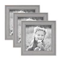 3er Set Bilderrahmen Skandinavischer Landhaus-Stil Grau-Braun 15x15 cm Massivholz mit Shabby-Chic Note / Fotorahmen / Wechselrahmen – Bild 1