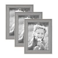 3er Set Bilderrahmen Skandinavischer Landhaus-Stil Grau-Braun 15x20 cm Massivholz mit Shabby-Chic Note / Fotorahmen / Wechselrahmen – Bild 1