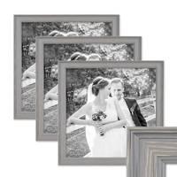 3er Set Bilderrahmen Skandinavischer Landhaus-Stil Grau-Braun 30x30 cm Massivholz mit Shabby-Chic Note / Fotorahmen / Wechselrahmen – Bild 1