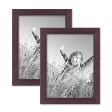 2er Set Bilderrahmen 15x20 cm Nuss Modern Massivholz-Rahmen mit Glasscheibe und Zubehör / Fotorahmen