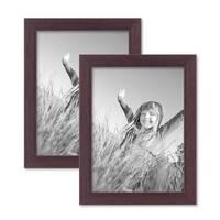 2er Set Bilderrahmen 15x20 cm Nuss Modern Massivholz-Rahmen mit Glasscheibe und Zubehör / Fotorahmen  – Bild 1
