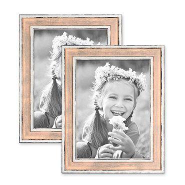 2er Set Bilderrahmen Pastell / Alt-Weiß Rosa 15x20 cm Massivholz mit Vintage Look / Fotorahmen / Wechselrahmen