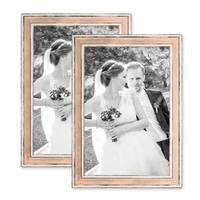 2er Set Bilderrahmen Pastell / Alt-Weiß Rosa 20x30 cm Massivholz mit Vintage Look / Fotorahmen / Wechselrahmen – Bild 1