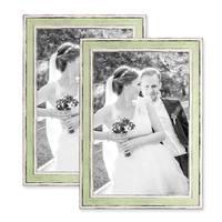 2er Set Bilderrahmen Pastell / Alt-Weiß Hellgrün 21x30 cm / DIN A4 Massivholz mit Vintage Look / Fotorahmen / Wechselrahmen – Bild 1