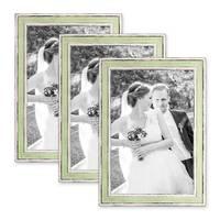 3er Set Bilderrahmen Pastell / Alt-Weiß Hellgrün 21x30 cm / DIN A4 Massivholz mit Vintage Look / Fotorahmen / Wechselrahmen